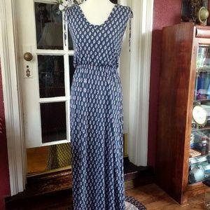 LOFT Maxi Dress Sleeveless Shoulder Ties